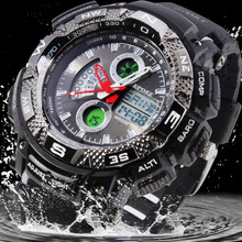 EPOZZ Men's Sports Military Watches Relogio Masculino Relojes Deportvio Duplo Quartz Silicone Strap Dive Watch 5ATM /EP1311