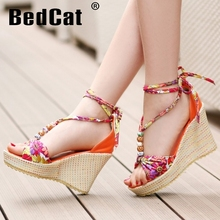 women wedge bohemia quality high heel sandals brand sexy fashion ladies heeled footwear heels shoes size 34-39 P17570