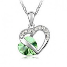 2014 New Wholesale fashion jewelry Platinum Plated Austria crystal heart shaped link Chain pendant necklace for