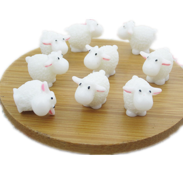20pcs/lot mini solid White Sheep 18mm flat Bottom resin DIY crafts Micro landscaping(China (Mainland))