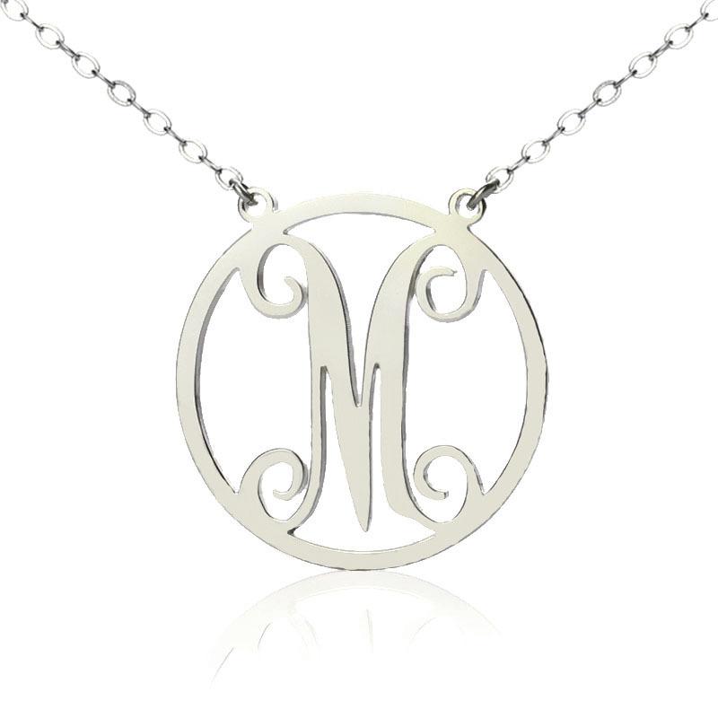 wholesale silver single initial circle monogram necklace