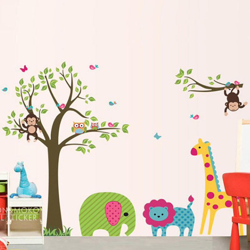 Blossom zoo giraffe elephant monkey owl lion wall decal for Deco mural stickers