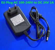 Ес вилку переменного тока 100 — 240 В в постоянный 24 В 1A импульсный источник питания адаптер конвертер для RGB из светодиодов полосы беспроводные камеры видео 5.5 * 2.1 мм