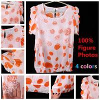 Top fashion women clothes chiffon lace blouse shirt blusa renda camisa feminina chiffon puff sleeve shirt big size Summer Style
