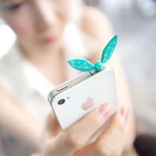 2014 New Cute Colorful Rabbit Ear Bowknot Dustproof Plug Ear Caps  Cell Phone Accessories