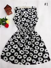 HOT! 2015 new 20 Styles Women casual Bohemian floral leopard sleeveless vest printed beach chiffon dress nz17(China (Mainland))