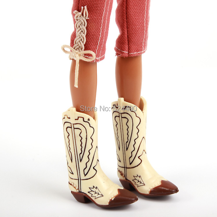 Original Long Blond Hair Jointed Doll / Cow Boy Style with Blouse Top Red Pants Boots Outfit Accessories / For Barbie Doll Gift