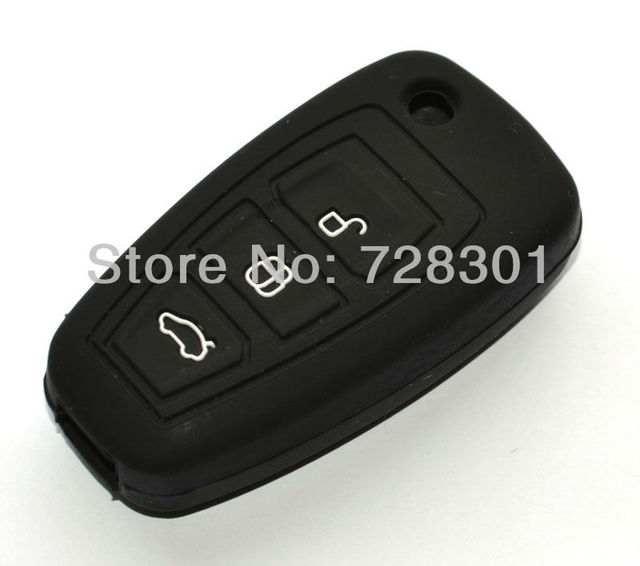 Black Silicone Key Case Cover Holder Protecting Bag Fit For Mondeo Fiesta 2011 2012 2013 Ford Focus Flip Folding Key 3 Buttons