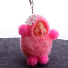 Sono Do Bebê Boneca Bola Cadeia Chave Do Carro Titular Saco Chaveiro Pingente Charme Chaveiro de Pelúcia Pele New Mulheres Bonitos Chave(China)
