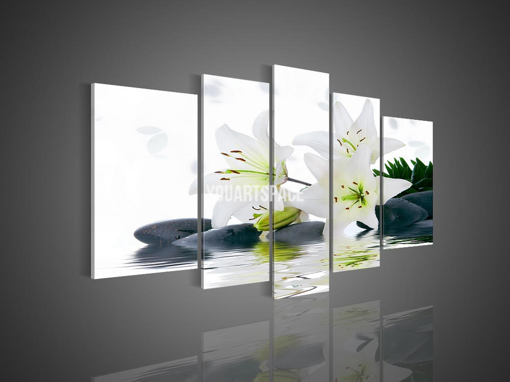 5 panel wall art no framed modern abstract acrylic flower for Modern black and white wall art