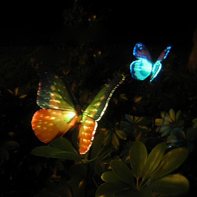 2Pcs Waterproof Solar Power RGB Color-Changing LED Fiber Optic Butterfly Lights LED Garden Lamps(China (Mainland))