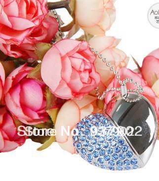 50PCS/LOT!Wholesale Beautiful love heart necklace crystal 128mb 2 4 8 16gb colors usb flash memory usb flash drive S22(China (Mainland))