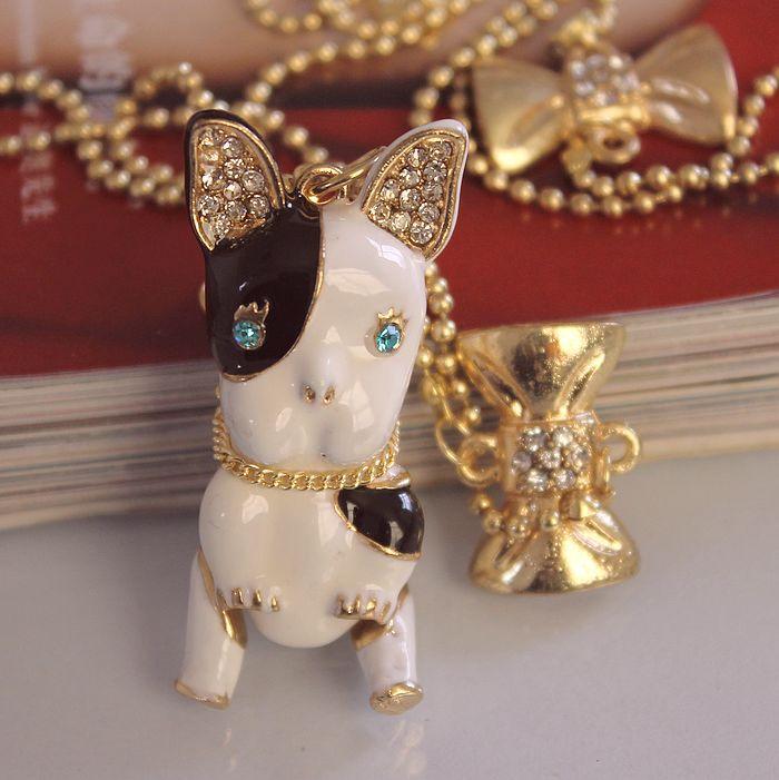 Fashion necklace 2014 BJ fashion new cute dog 130304 black white alternate - jewelry shop paradise store