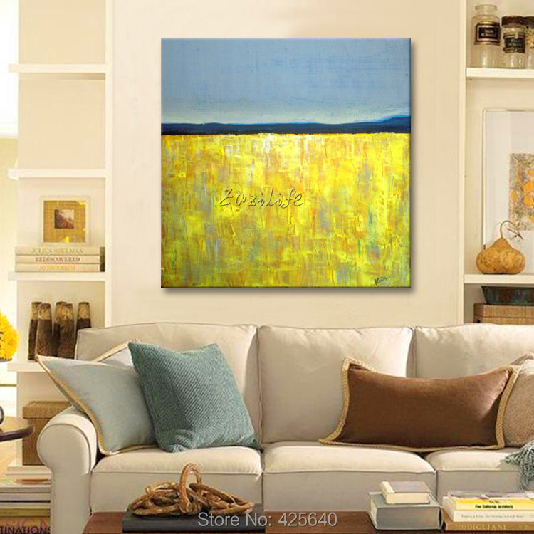 Yellow Gray Acrylic Paint Home Decoration Oil Painting on canvas hight Quality Hand-painted Wall Art 24X32 inch(China (Mainland))