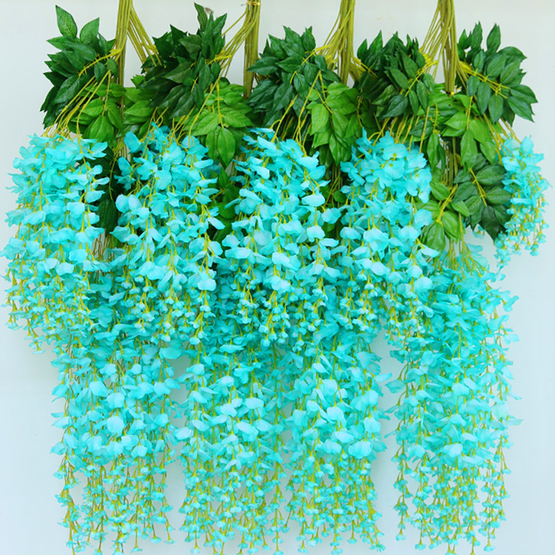 12pcs/lot high quality longer artificial wisteria flowers home / wedding arch decoration vine fake rattan marrige party supplies(China (Mainland))