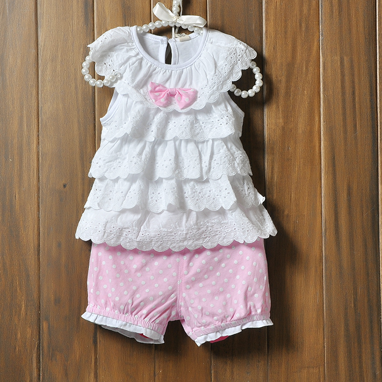 Baby Girls Cake layers of lace sleeveless tops + shorts Clothes suits Blue Polka Dot Polka Dot Cake Kit for Baby's Clothing Sets(China (Mainland))