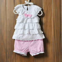 Baby Girls Cake layers of lace sleeveless tops shorts Clothes suits Blue Polka Dot Polka Dot