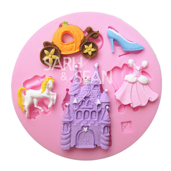 M0963 The Decorations of Cinderella Story Castle Dress White Horse High-heeled Shoes Carriage Cake Chocolate Mold for the Baking(China (Mainland))
