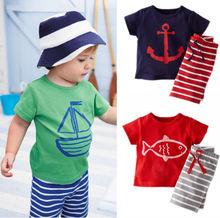 Summer Baby Toddler Kids Boys Casual Sailor Suit Tops T-shirt Pants Outfits UK(China (Mainland))