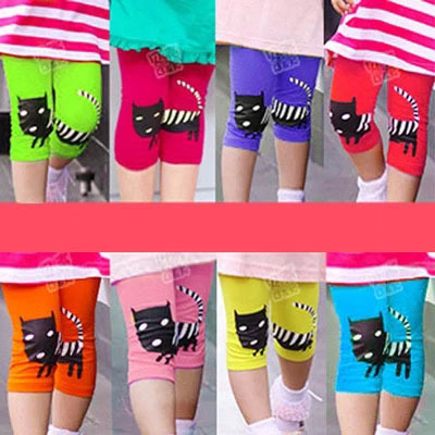 2015 kitty pants baby girl clothes Baby cat female children's wear children 5 minutes of pants render pants(China (Mainland))