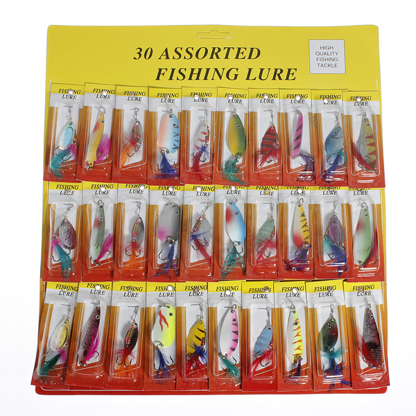 USA Stock! 30 Fishing Lures Set Feather Spinners Plugs Spoons Bass Pike Trout Salmon Baits(China (Mainland))