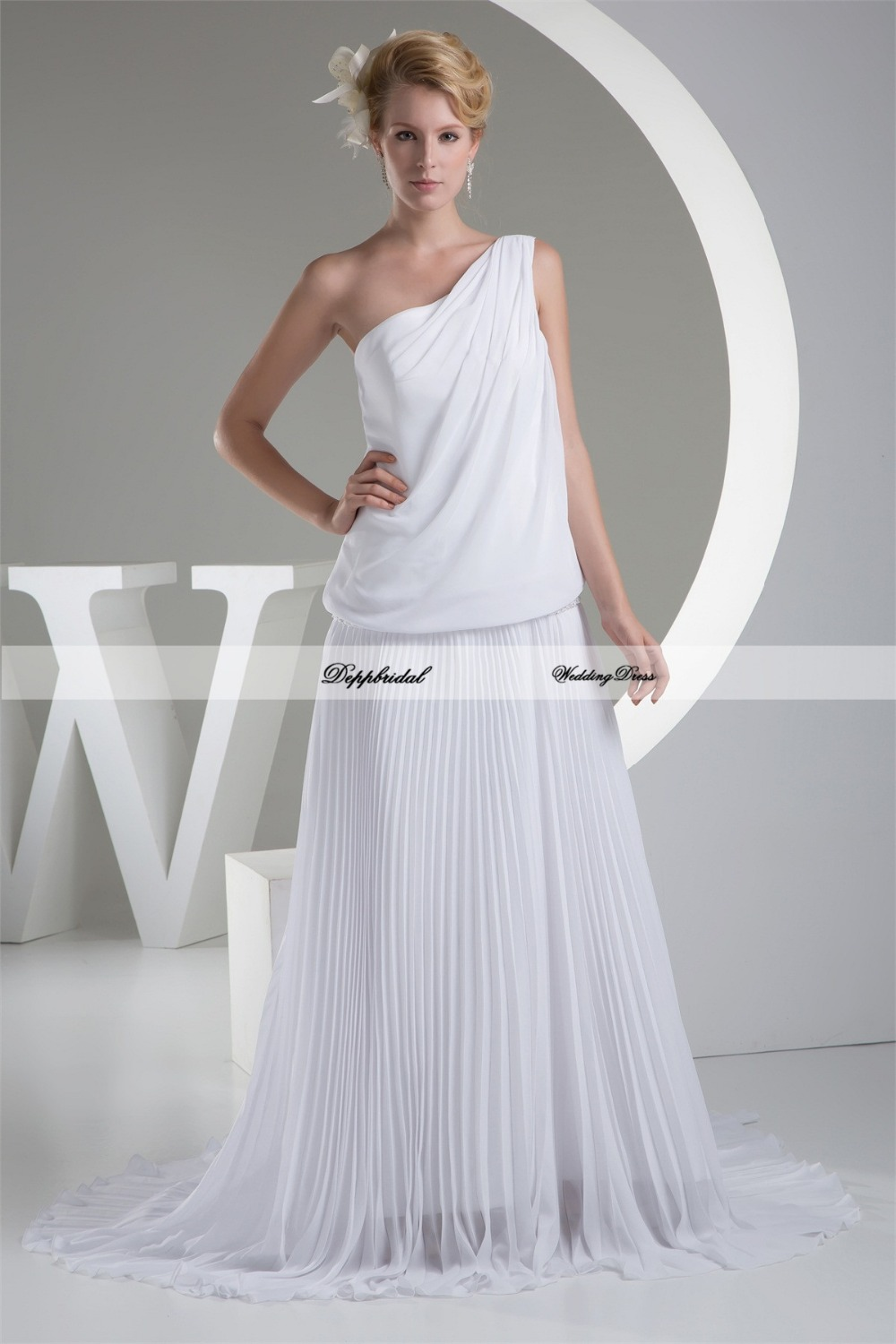 Wholesale wedding dress chiffon one shoulder sheath column for Plus size sheath wedding dress