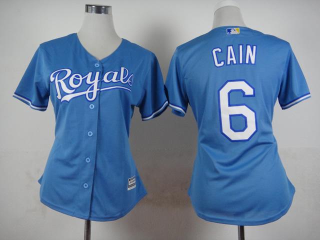 2015 New Kansas City Royals Womens Jerseys #6 Lorenzo Cain Blue Baseball Jersey3550(China (Mainland))