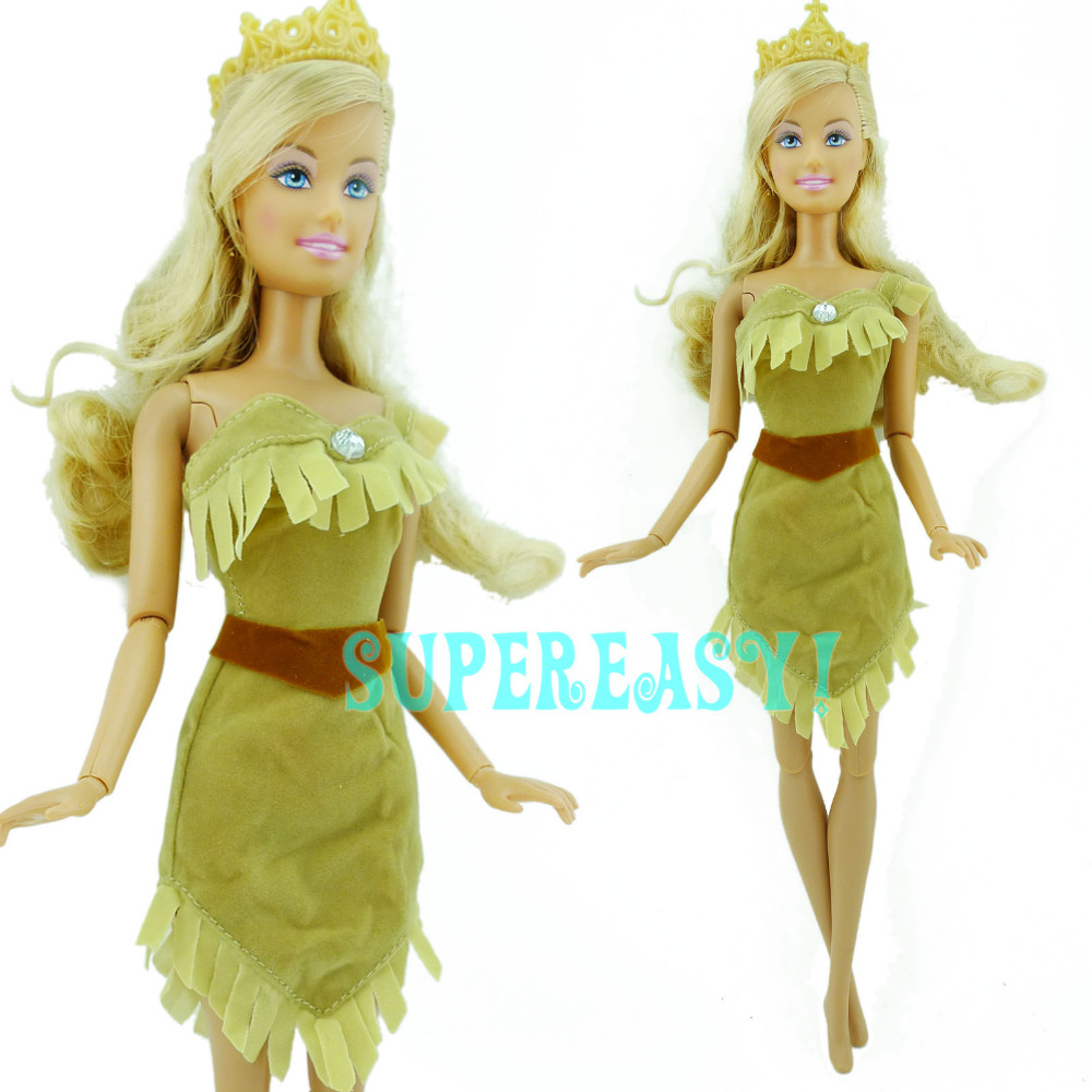 1x Exotic Indian Fairy Tale Dress Princess Gown Dancing Party Clothes For Barbie Doll Pocahontas  Kid Girl Birthday Gift xMas<br><br>Aliexpress
