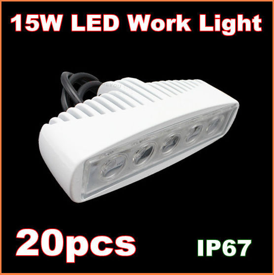 20pcs Free Shipping 15W LED Work Light 12V 24V IP67 Flood Or Spot beam For 4WD 4x4 Off road Lamp TRUCK BOAT TRAIN BUS(China (Mainland))
