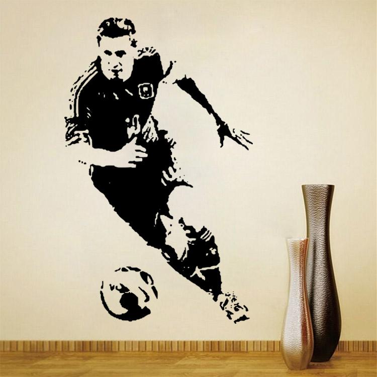 Free Shipping Footballer Vinyl Wall Sticker Children Bedroom Football Decal  Art Sticker, Footballer Soccer Wall