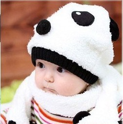 Super Cute Warm Baby Wool Panda Cap Match Scarf Hat Set (1Set =1 Cap+ 1 Scarf) fast shipping - Bear store