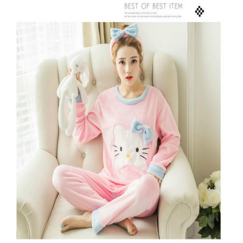 737b4d3037 Cartoon Women Pajamas Sets 2016 Cotton Autumn winter Long Sleeve Nightgown  Girls Pajamas Sets Hello Kitty Style Clothing