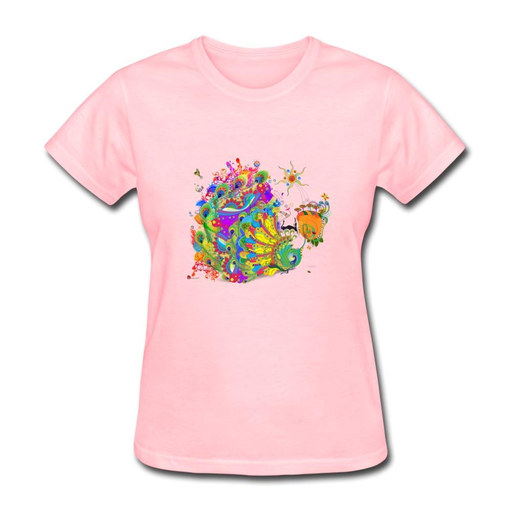 Short Sleeve Tee Shirt Women Peacock Dance Design Your Own