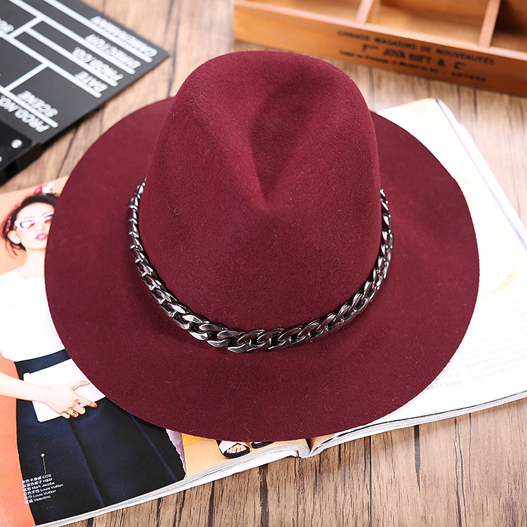 100% Wool Female Fedoras Adults Fashion Spring Autumn Winter Fedora Hat For Woman Dome Formal Bowler Hat Adjustable Metal Welt
