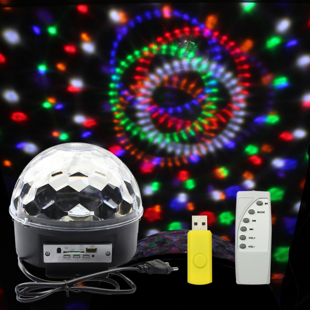 Music Crystal Magic Ball RGB LED Stage Lights For Party, Disco, Nightclub with Remote,Free Shipping(China (Mainland))