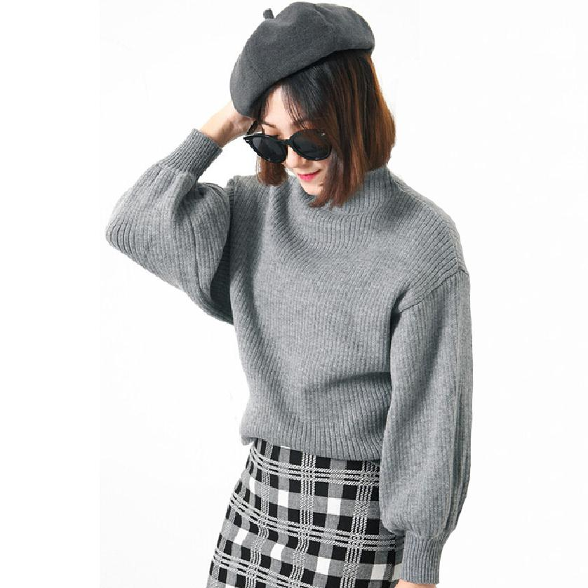 Vintage Sweater 2016 Fashion 5 Color Loose Wide Flare Lantern Sleeve Half Turtleneck Knitted Jumper Women Pullovers and Sweaters(China (Mainland))