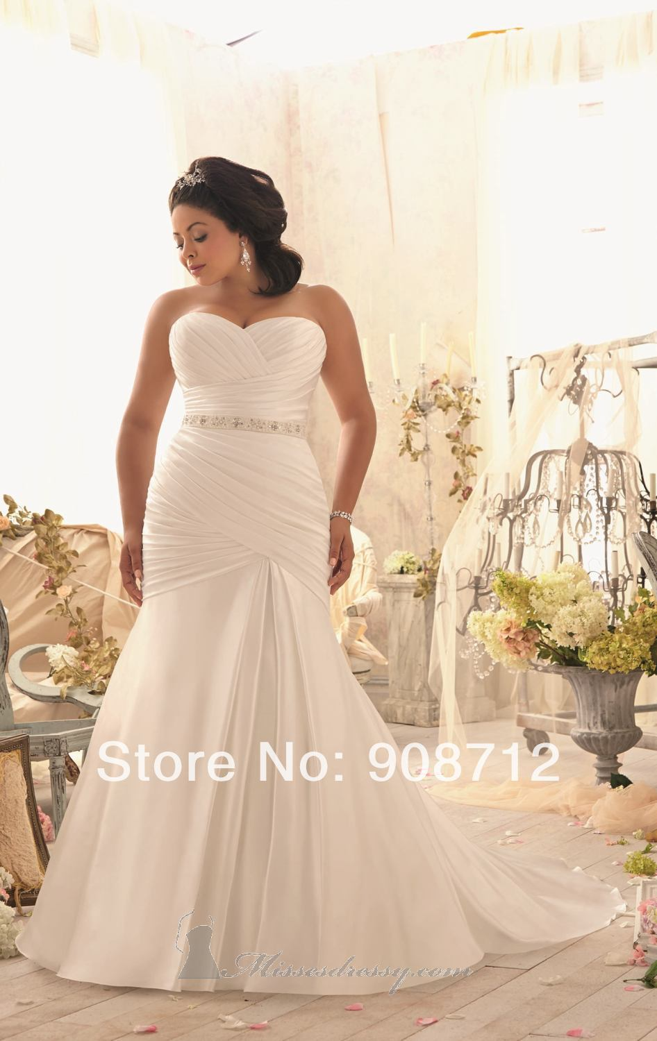 Hot sell fit and flare strapless satin designer stunning for Plus size beaded wedding dresses