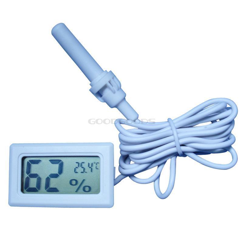 In Stock Digital Mini LCD Digital Thermometer Hygrometer Fridge Freezer Temperature Humidity Meter White Egg Incubator Brand New