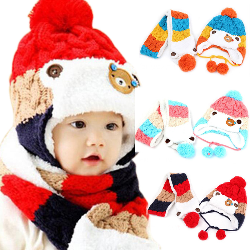 Cute Winter Warm Baby Hat + Scarf Set Bear Crochet Knitted Caps Neck Warmer for Infant Boys Girls Children Kids -17 M09(China (Mainland))