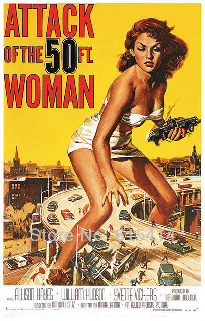 02 Attack of The 50 Foot Woman classic movie 24''x38'' wall Poster with Tracking Number