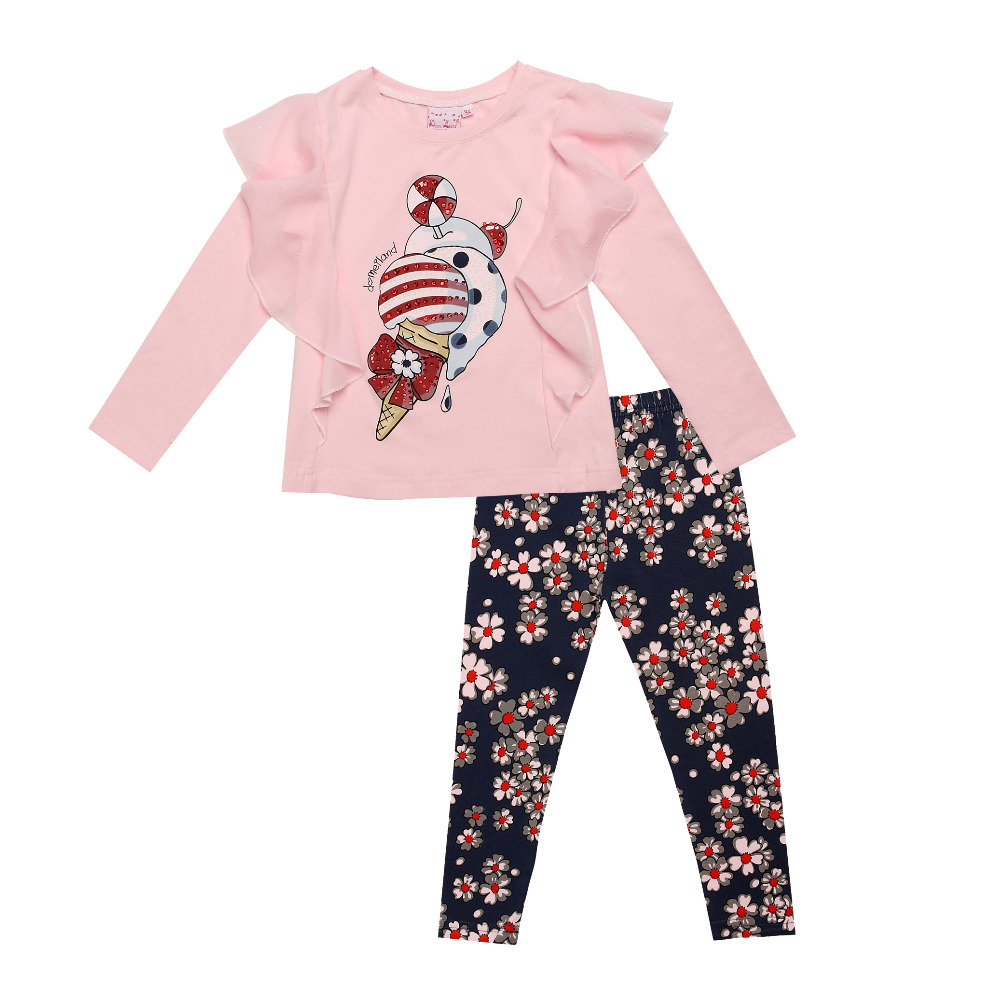 2016 fashion Monnalisa Boutique Outfits For kids Girls Sets With Cute Print Long Sleeve Tops +floral legging clothes suits(China (Mainland))