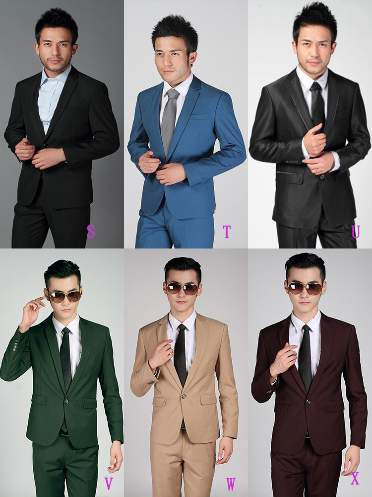 10-Free Shipping New 2015 man suit classic Fashion grooms man suits! Men's Blazer Business Slim Clothing Suit And Pants