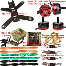 QAV210 Carbon Frame kit RS2205 2300KV Motor+Simonk/BLHeli 20A ESC+CC3D+Power Distribution with BEC+Gemfan 5045 BULLNOSE Props