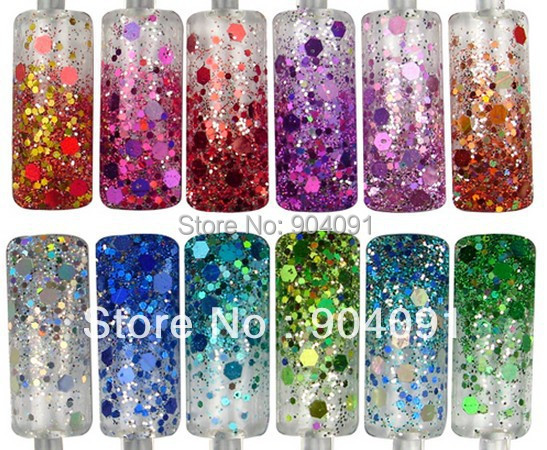 HOTSALE Glitter Nail Powder. 12color Glitter Acrylic Powder Dust For Nail Art Tips for nail accessories+Freeship(China (Mainland))