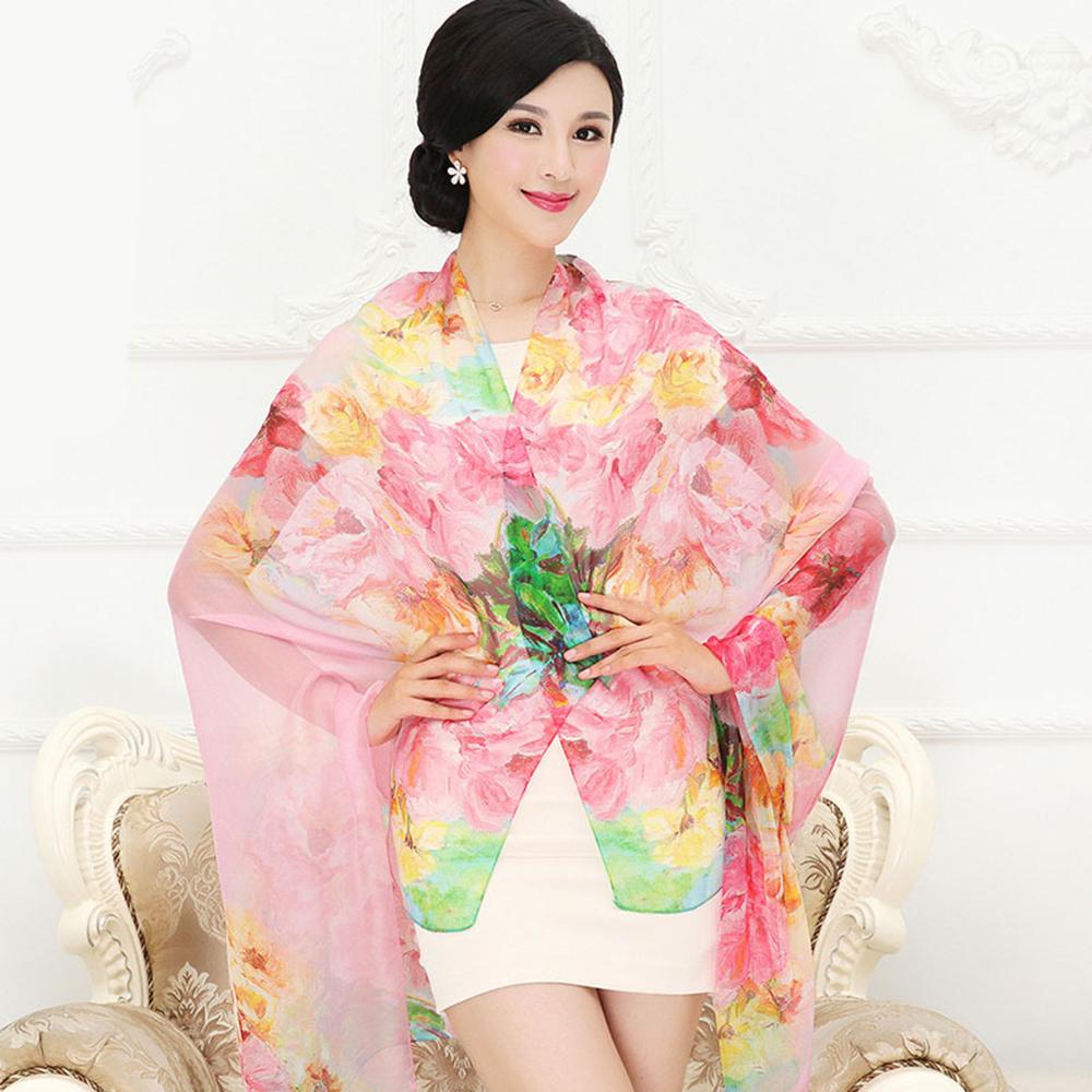 New Arrival 2016 Real Silk Scarf Shawl Fashion Print Women Scarves Large Size Chiffon Shawls Wrap Long Pashmina Sale Sc031(China (Mainland))