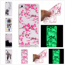 P8Lite Fashion Luminous Glow in the Dark Shell Soft TPU Silicone Cases Cover Crystal Painted Case for Huawei P8 Lite P8mini