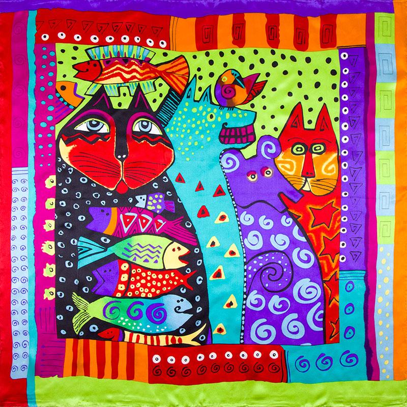 100% Silk Scarf Women Scarf Cat and Fish Scarf Silk Hijab 2016 Foulard Animal Bandana Middle Square Silk Scarf Luxury Lady Gift(China (Mainland))
