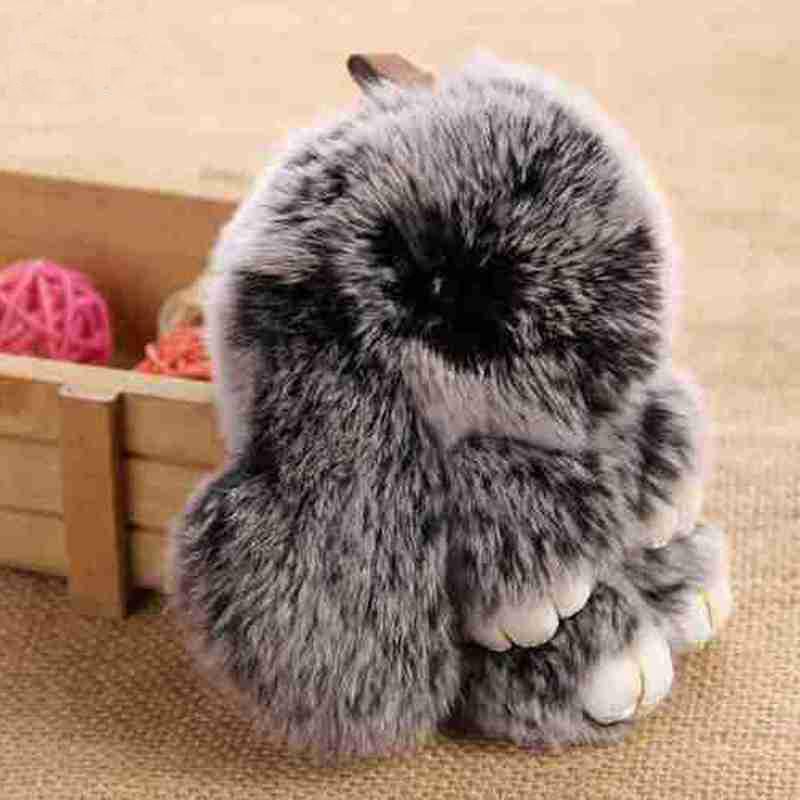Cute Fluffy Rabbit Keychain Rex Genuine Bunny Fur Pompoms Key Chain Snow Frost White Fur Pom Pom Keychain Bag Car Charm Pendant(China (Mainland))