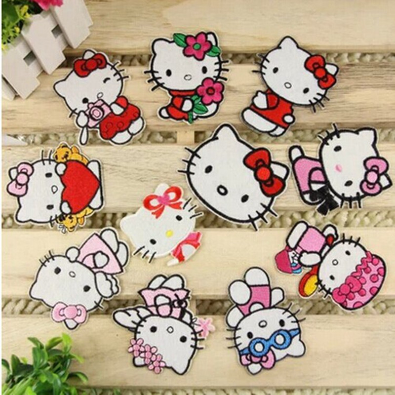 Free Shipping Mix Style 12pcs Hello Kitty Cartoon Patch embroidered Iron on Hat Jacket Hoodie Backpack Ideal for Gift(China (Mainland))