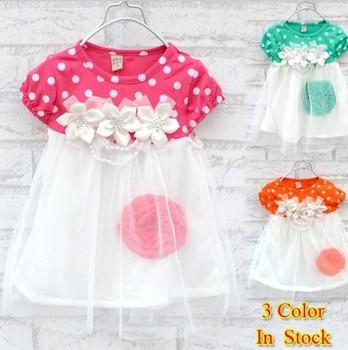 2015 summer New 1pcs Children's clothing baby girls clothes kids tutu dress girl dress with flower
